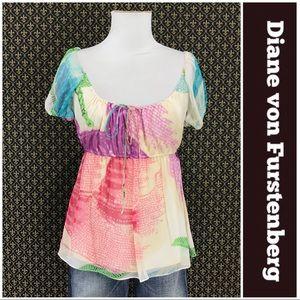 Diane von Furstenberg Watercolor Silk Blouse